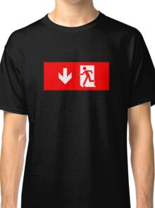 Running Man Emergency Exit Sign, Left Hand Down Arrow Classic T-Shirt