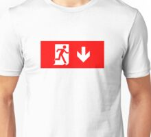 Running Man Emergency Exit Sign, Right Hand Down Arrow Unisex T-Shirt