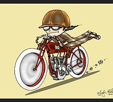 MOTORCYCLE EXCELSIOR STYLE (red and yellow) by squigglemonkey