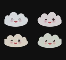 Kawaii funny white clouds One Piece - Short Sleeve