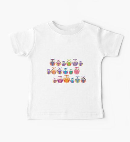 bright colorful owls on black background Baby Tee