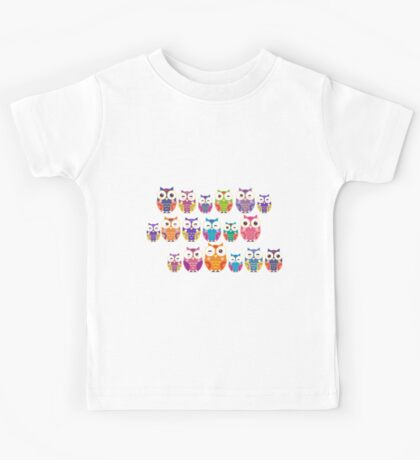 bright colorful owls on black background Kids Tee
