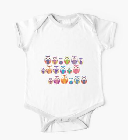 bright colorful owls on black background One Piece - Short Sleeve