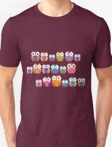 bright colorful owls on black background Unisex T-Shirt