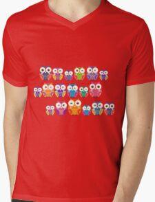 bright colorful owls on black background Mens V-Neck T-Shirt