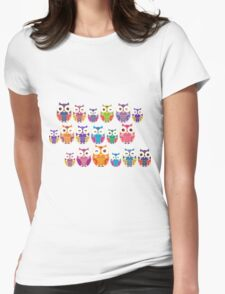 bright colorful owls on black background Womens Fitted T-Shirt