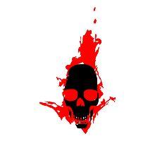 Flaming Skull Photographic Print