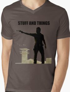 Stuff and Things Walking Dead Mens V-Neck T-Shirt