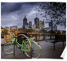 Night and Green Bike Poster