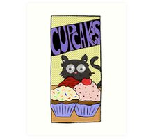 """Dirk Strangely's """"Cats and Sweets"""" CUPCAKES Art Print"""