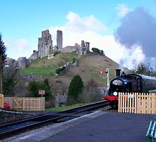 Steam Train Arriving at Corfe Castle Station by hootonles