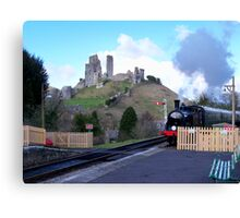 Steam Train Arriving at Corfe Castle Station Canvas Print