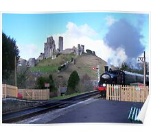 Steam Train Arriving at Corfe Castle Station Poster