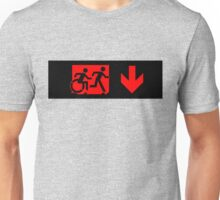 Accessible Means of Egress Icon and Running Man Emergency Exit Sign, Right Hand Down Arrow Unisex T-Shirt