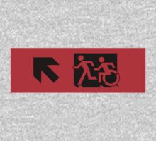 Accessible Means of Egress Icon and Running Man Emergency Exit Sign, Left Hand Diagonally Up Arrow One Piece - Long Sleeve