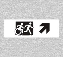Accessible Means of Egress Icon and Running Man Emergency Exit Sign, Right Hand Diagonally Up Arrow One Piece - Long Sleeve