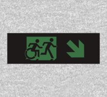 Accessible Means of Egress Icon and Running Man Emergency Exit Sign, Right Hand Diagonally Down Arrow One Piece - Long Sleeve
