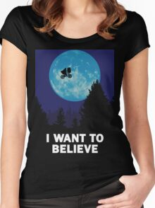 The X-Files: I Want to Believe Poster E.T Extra Terrestrial Spoof Women's Fitted Scoop T-Shirt