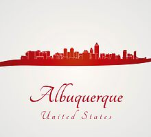 Albuquerque skyline in red by Pablo Romero