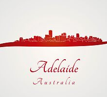 Adelaide skyline in red by Pablo Romero