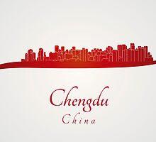Chengdu skyline in red by Pablo Romero