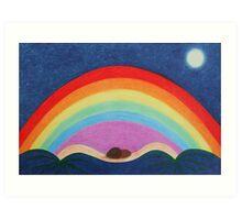 Rainbow: Spiritual Rainbow with Moon and Stars Art Print