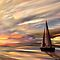 One Sailboat in A Sunset