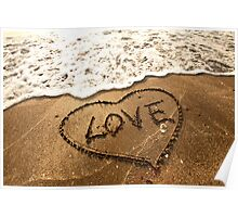 Love concept handwritten on sand Poster