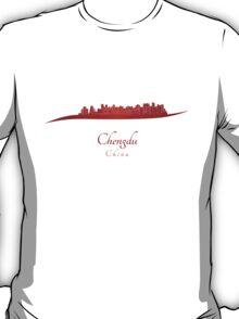 Chengdu skyline in red T-Shirt