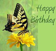 Happy Birthday - Eastern Tiger Swallowtail Butterfly by Jean Gregory  Evans