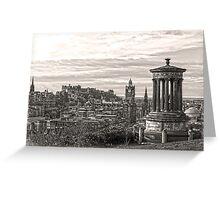 Edinburgh View in Sepia Greeting Card
