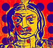 Blue Dot Pop Art Indian by Kater