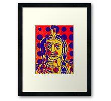 Blue Dot Pop Art Indian Framed Print