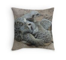 Meerkat Snuggle with Baby Throw Pillow