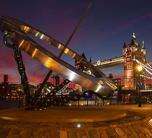 Tower Bridge at sunset with the sun dial in foreground by WillG