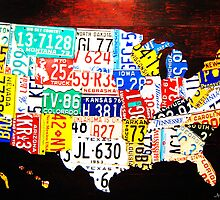 United States Map License Plate Art - America  by CooliPhones