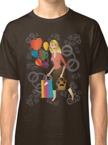 Beautiful blond woman with gift and balloons.  Classic T-Shirt