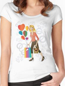 Beautiful blond woman with gift and balloons.  Women's Fitted Scoop T-Shirt