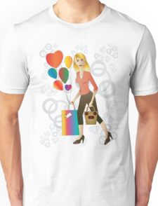 Beautiful blond woman with gift and balloons.  Unisex T-Shirt