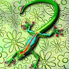 Gecko Lizard Rainbow Colors by BluedarkArt