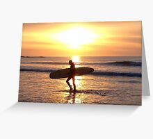 Surfer Sunset at Ballyliffen Greeting Card