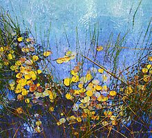 aspen leaves on pond as abstract by R Christopher  Vest