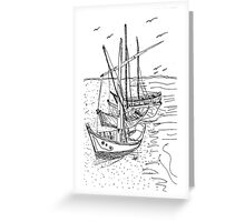 4 Sail Boats Greeting Card