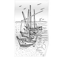 4 Sail Boats Poster