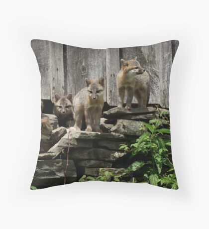 Fox Pups Throw Pillow