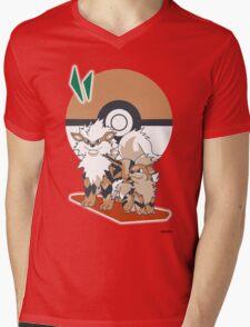 Pokemon Growlithe & Arcanine Mens V-Neck T-Shirt