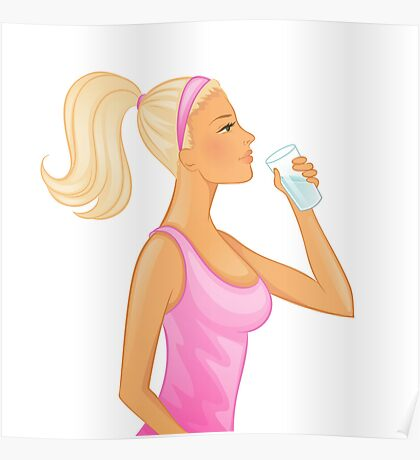 Vector illustration of Young woman drinking water Poster