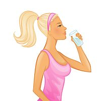 Vector illustration of Young woman drinking water Photographic Print