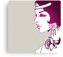 Vector illustration of Beautiful woman Canvas Print
