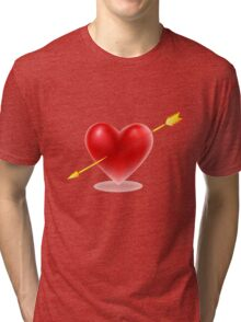 Vector illustration of Red heart shape Tri-blend T-Shirt